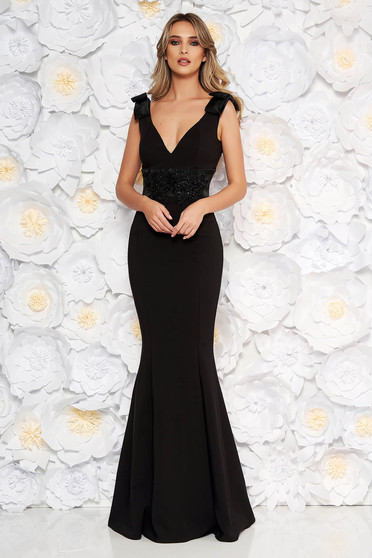 Black occasional long mermaid dress slightly elastic fabric with bow accessories with lace details