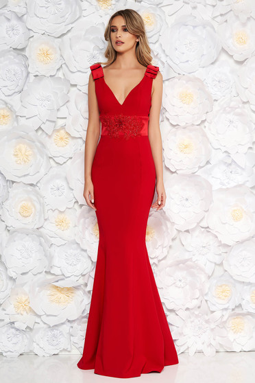Red occasional long mermaid dress slightly elastic fabric with bow accessories with lace details
