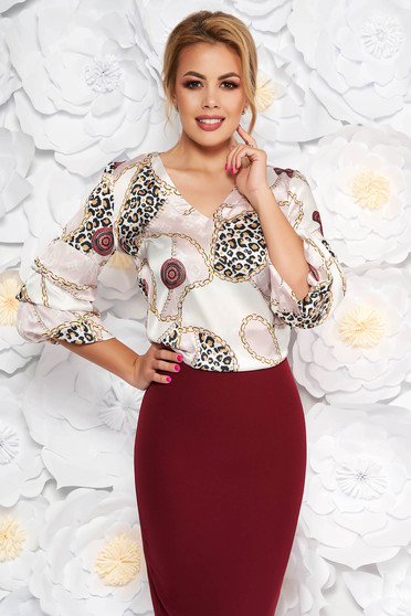 LaDonna white elegant flared women`s blouse with v-neckline from satin fabric texture with graphic details