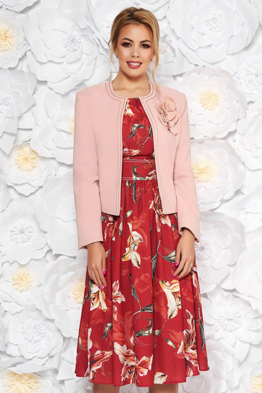LaDonna burgundy elegant lady set from 2 pieces with floral print dress