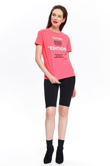 Top Secret pink casual flared t-shirt nonelastic cotton short sleeve