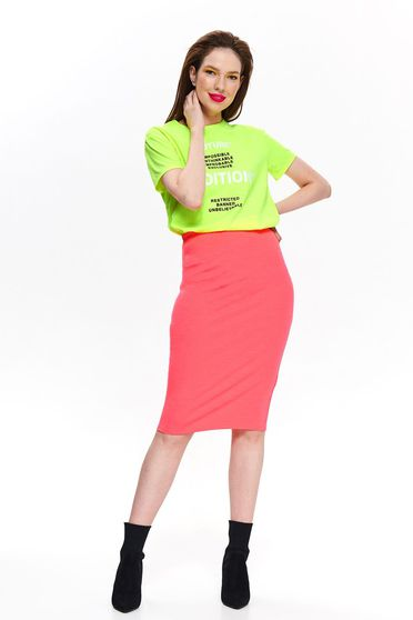 Top Secret pink casual midi skirt high waisted with tented cut