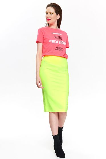 Top Secret green casual midi skirt high waisted with tented cut