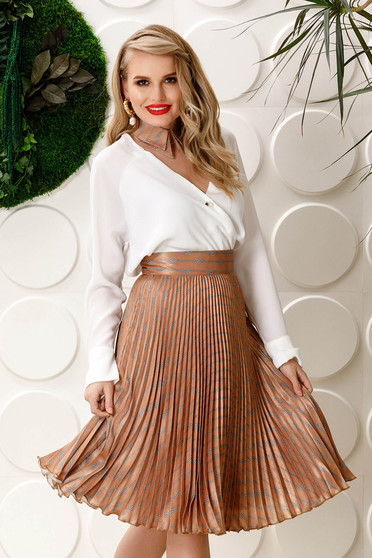 PrettyGirl cream elegant folded up cloche skirt high waisted from satin fabric texture