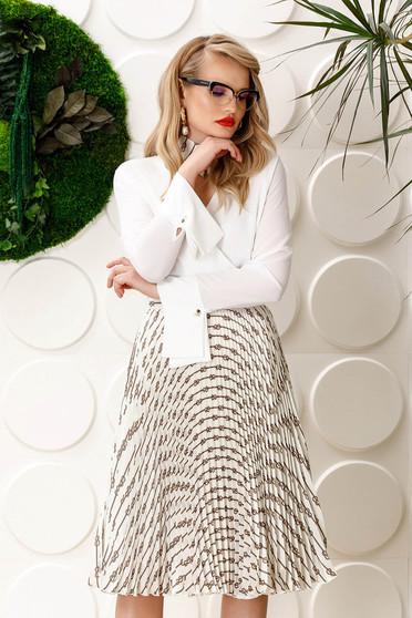 PrettyGirl white elegant folded up cloche skirt high waisted from satin fabric texture