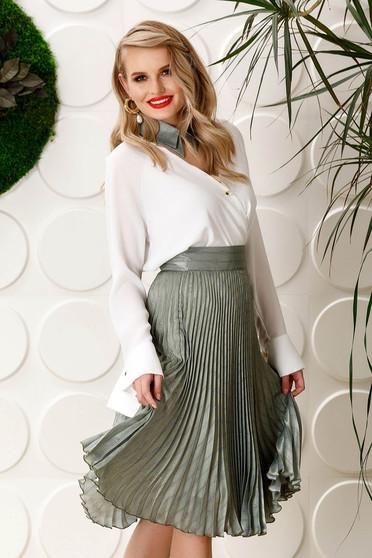 PrettyGirl lightgreen elegant folded up cloche skirt high waisted from satin fabric texture