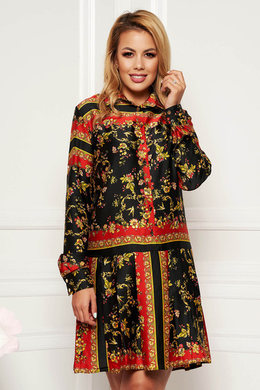 PrettyGirl black daily straight dress long sleeved from satin fabric texture with inside lining