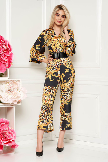 PrettyGirl black long jumpsuit with v-neckline from satin fabric texture animal print accessorized with belt