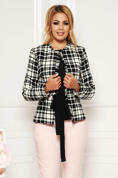 Elegant tented cotton jacket plaid fabric with inside lining with small beads embellished details