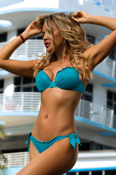 Turquoise swimsuit from two pieces with normal bra bra with detachable pads brazilian slip