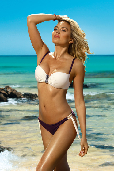 237712dca1c Cream swimsuit from two pieces brazilian slip with balconette bra  accessorized with breastpin