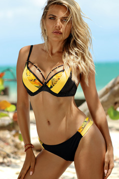 Yellow swimsuit brazilian slip with normal bra with push-up cups adjustable straps