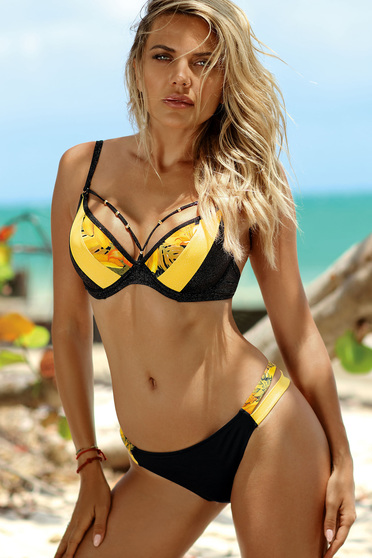 fb73c59ea78 Yellow swimsuit brazilian slip with normal bra with push-up cups adjustable  straps