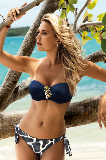 Darkblue swimsuit adjustable bikinis with balconette bra from velvet fabric accessorized with breastpin