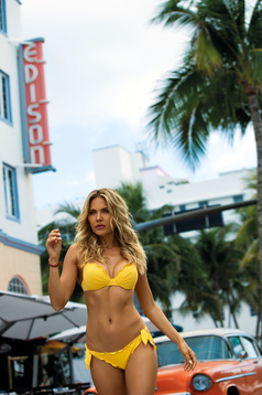 Yellow swimsuit from two pieces with normal bra with detachable pads brazilian slip