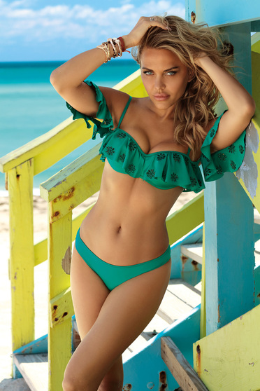 Darkgreen swimsuit from two pieces frilled with balconette bra with classic bottoms
