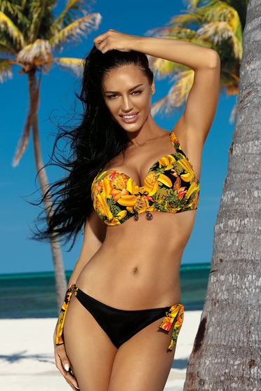 Mustard swimsuit from two pieces with classical slip with normal bra with floral print