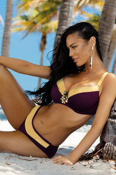 Burgundy swimsuit from two pieces with normal bra accessorized with breastpin with classical slip