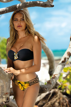Black swimsuit from two pieces brazilian slip with balconette bra detachable straps accessorized with breastpin