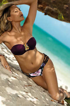 Burgundy swimsuit from two pieces brazilian slip with balconette bra detachable straps accessorized with breastpin