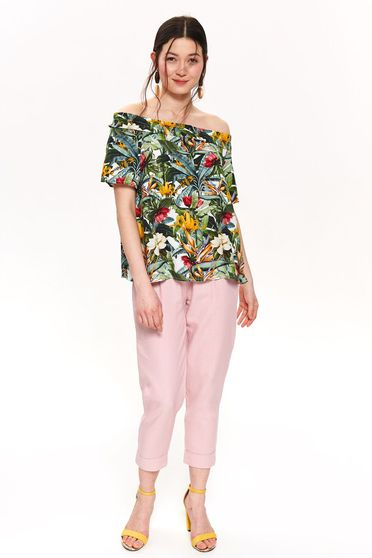 Top Secret green casual off shoulder flared women`s blouse thin fabric with floral prints