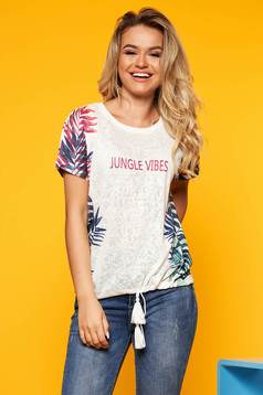 Top Secret white casual flared t-shirt slightly transparent fabric with laced details