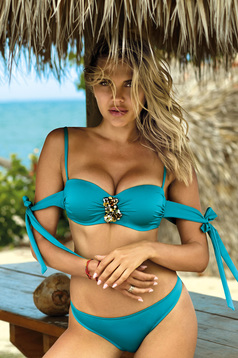 Turquoise swimsuit from two pieces with balconette bra accessorized with breastpin with classical slip
