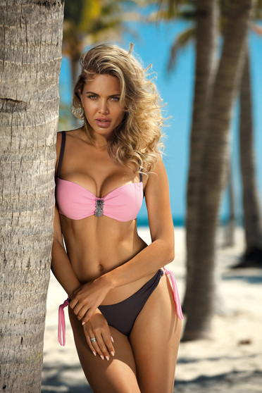 a977fcbb6f6 Pink swimsuit from two pieces brazilian slip with balconette bra  accessorized with breastpin