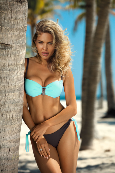 Mint swimsuit from two pieces brazilian slip with balconette bra accessorized with breastpin