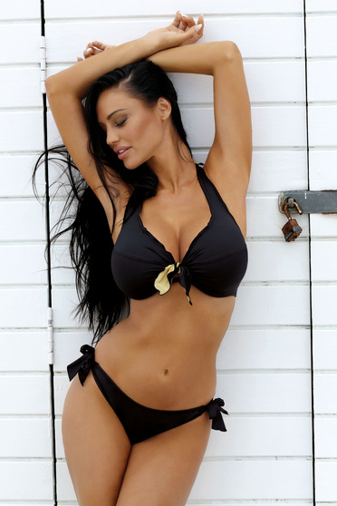 Black from two pieces swimsuit with classical slip with normal bra