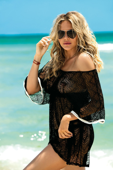 Black beach wear dress with v-neckline net stockings with laced details