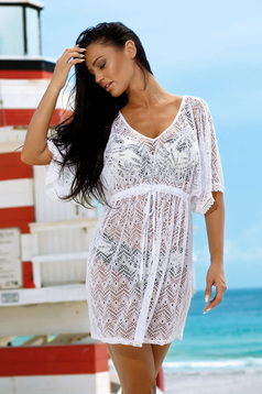 White beach wear dress with v-neckline net stockings with laced details