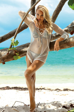 Cream beach wear flared dress net stockings with v-neckline with laced details