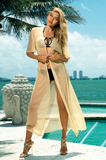 Cream long beach wear dress transparent fabric with laced details