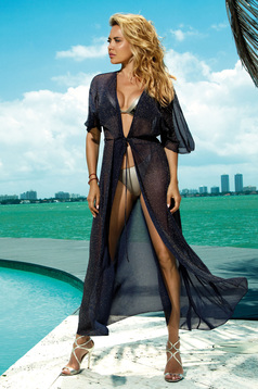 Darkblue long beach wear dress transparent fabric with laced details