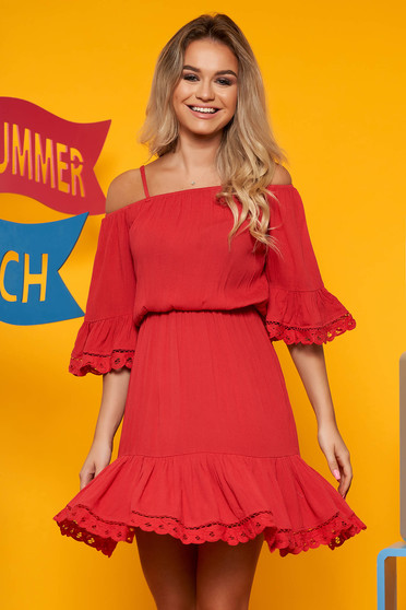 Red daily cloche dress bell sleeves with elastic waist airy fabric