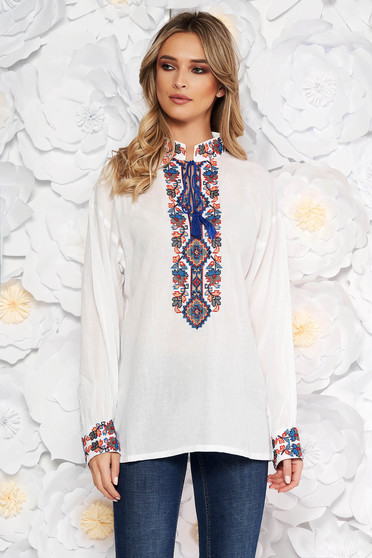 White blouse flared women`s blouse cotton long sleeve front embroidery