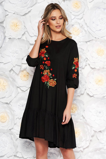 Black daily flared dress nonelastic cotton front embroidery
