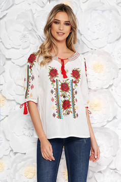 White blouse flared women`s blouse 3/4 sleeve nonelastic cotton with embroidery details