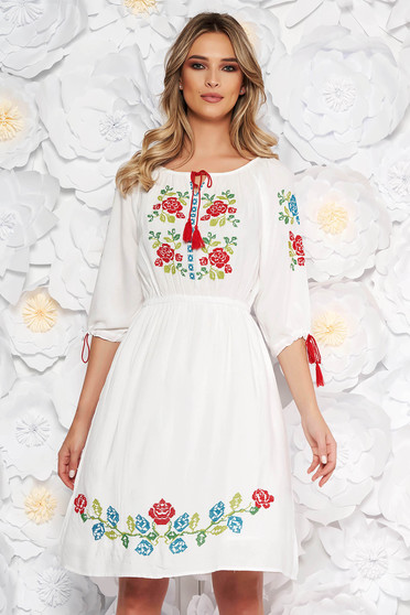White daily cloche dress with elastic waist nonelastic cotton front embroidery