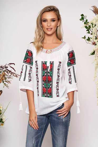White embroidered women`s blouse cotton blouse flared long sleeved