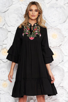 Black daily flared dress nonelastic cotton with laced details front embroidery details