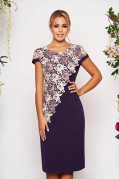 Purple elegant midi dress straight short sleeves lace overlay