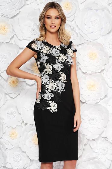 Black elegant midi dress straight short sleeves lace overlay