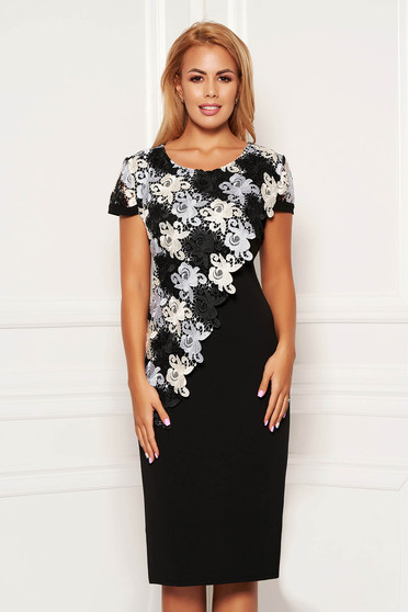 Black elegant midi dress straight short sleeves lace overlay