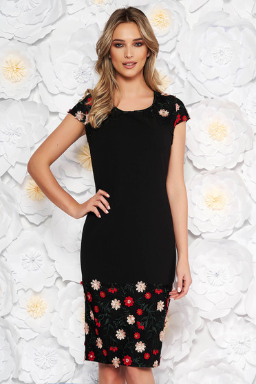 Black elegant pencil dress short sleeve with rounded cleavage with embroidery details with sequin embellished details