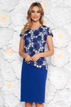 Blue elegant dress straight short sleeve scuba with lace overlay