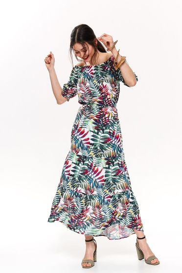 Top Secret green daily cloche dress off shoulder airy fabric with floral print