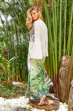 Cosita Linda green beach wear flared dress long sleeve slightly transparent fabric with floral prints is fastened around the waist with a ribbon