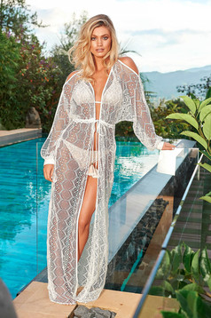Cosita Linda white beach wear flared dress long sleeved both shoulders cut out is fastened around the waist with a ribbon